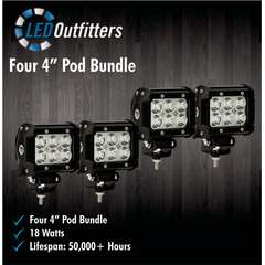 "DAMEGA SET OF FOUR 4"" LED OFF ROAD WORK LIGHTS"