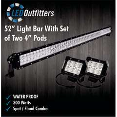 "52"" SUPER LED SPOT AND FLOOD COMBO OFF ROAD WORK LIGHT + SET OF TWO LED PODS"