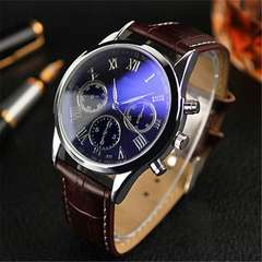 Brown leathers Men Wrist Watch with Blue Face Plate