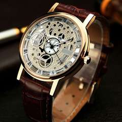 Brown leathers Men Wrist Watch with white Face Plate