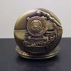 Bronze men pocket watch with train decal