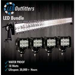 "36"" Super LED Spot and Flood Combo Off Road Work Light + Set of Four LED Pods"