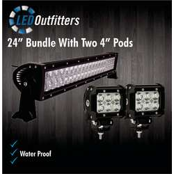 "24"" Off Road Work Light Plus Two 4"" Pods Combo Set"