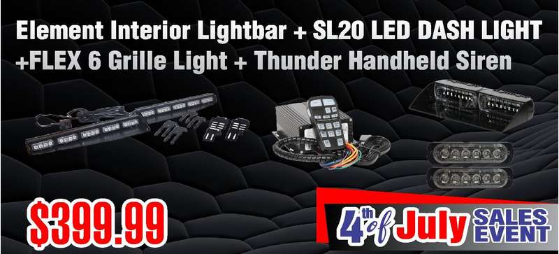 DaMeGa Element Interior Lightbar + 2 FLEX 6 + SL20 + Thunder siren with Cyclone speaker 4th of July sale