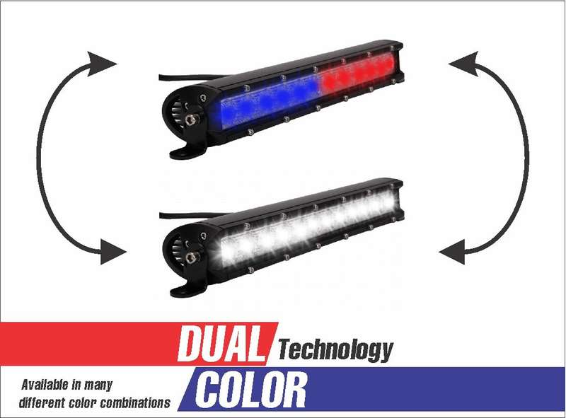 12 LED DUAL COLOR COMBO SPOT AND FLOOD LIGHT SINGLE ROW