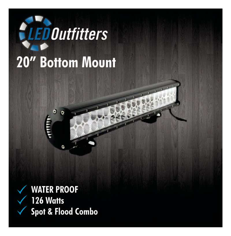 "20"" Undermount 126W LED Work Light Flood/Spot Combo"