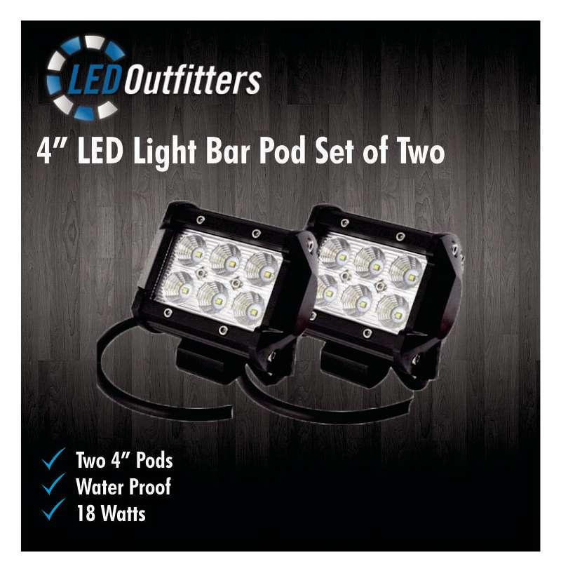 """DaMeGa Set of Two 4"""" LED Off Road Work Lights"""