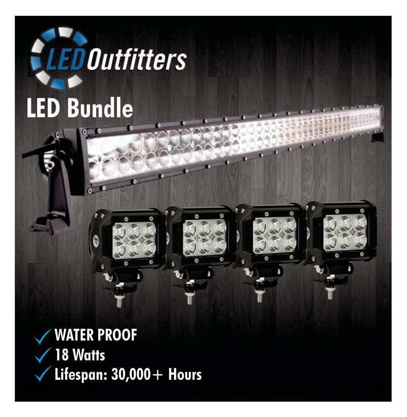 "36"" Super LED Spot and Flood Combo Off Road Work Light + Set of Four LED Pods"