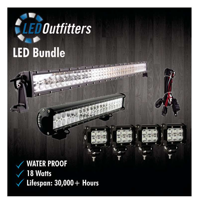 SUPER LED SPOT AND FLOOD COMBO OFF ROAD WORK LIGHT BUNDLE KIT