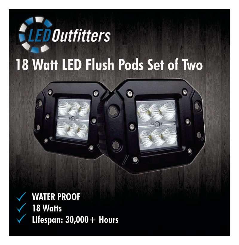 DaMeGa Set of 18W Flush Mount Work Lights